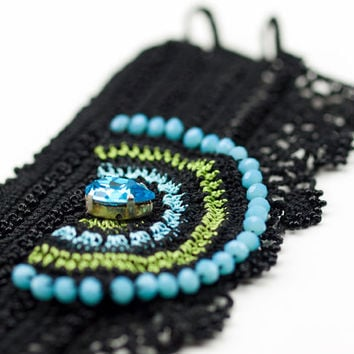 Handmade Floral Lace Bracelet / Crochet Lace Cuff / Black Turquoise Green Blue / Beaded Cuff / Boho Style / Fiber Art Jewelry