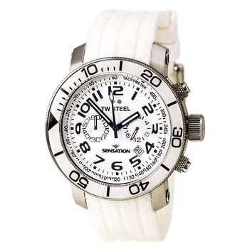 TW Steel TW834 Men's Grandeur Sensation Chrono White Dial White Rubber Strap Watch