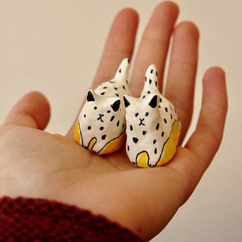 """Disco cat collection """"Twins cats"""" , painted clay sculpture"""