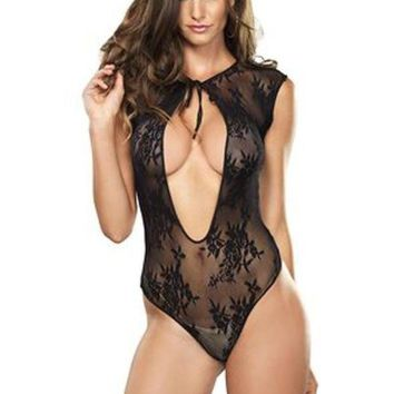 LMFH3W Stretch lace g-string teddy with keyhole tie front detail in BLACK