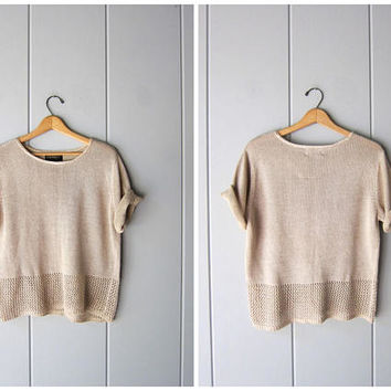 Minimal Linen Blend Sweater Top Natural Thin Knit Sweater Short Sleeve Boxy Knit Open Knit Sweater Vintage Fall Sweater Womens Large