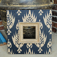 Ikat Print 5x5 Picture Frame Vintaged Black by hayleykellyframes