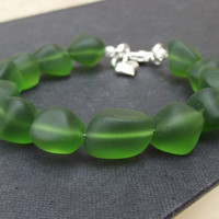 Emerald Green Sea Glass Bracelet:  Chunky Beaded Bottle Green Beach Jewelry, Puffed Silver Heart Charm
