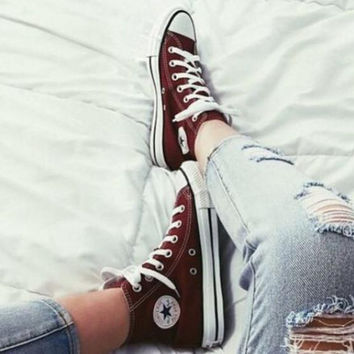 """Converse"" Fashion Canvas Flats Sneakers Sport Shoes Hight tops Wine red"
