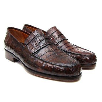 Paul Parkman Men's Brown Genuine Crocodile Penny Loafers (ID#PN49LF)