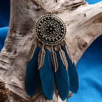 Vintage Round Feather Leaf Sweater Chain
