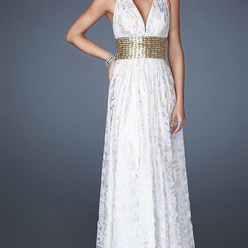 White Thick Beaded Empire Waist Grecian Inspired Chiffon Long Dress