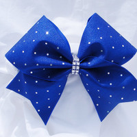 Cheer bow Royal blue with sliver sequins and rhinstone center. cheerbow-cheerleading bow-softball bow-dance bow