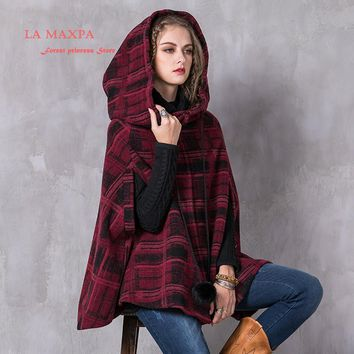 New Winter Women Coat 2017 La max pa Boho Woollen Female Jacket Hooded Single Breasted Covered Button Dolman Sleeve Cloak Coats