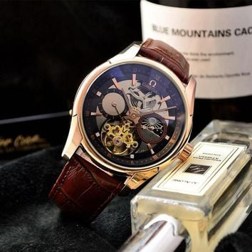 PEAP O034 Omega Hour Vision Swiss Made Leather Strap Watches Maroon Rose Gold Blue