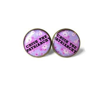 Floral Conversation Heart Feminist crush the patriarchy Stud Earrings - Feminist Heart