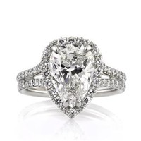 4.66ct Pear Shaped Diamond Engagement Anniversary Ring