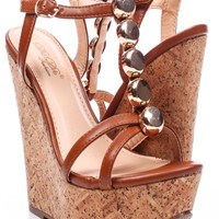 COGNAC FAUX LEATHER T-STRAP ANKLE STRAP CORK PLATFORM WEDGE SANDALS
