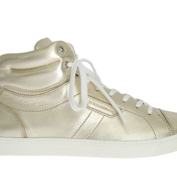 Dolce & Gabbana Gold Goat Leather Laminated Sneakers