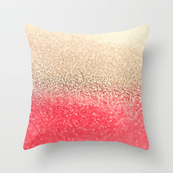 GATSBY CORAL GOLD Throw Pillow by Monika Strigel