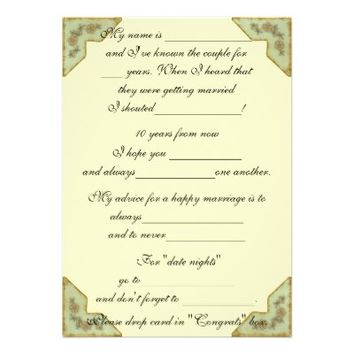 Pretty Vintage Wedding Advice Comment Card