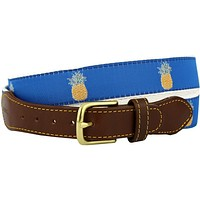 Pineapple Leather Tab Belt in Blue Ribbon with White Canvas Backing by Knot Belt Co. - FINAL SALE