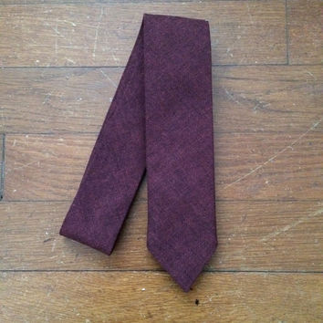 Plum Chambray Skinny Tie, Bow Tie or Pocket Square