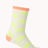 FOREVER 21 Geo Girl Crew Socks Cream/Neon Orange One