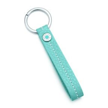 Tiffany & Co. -  Snap loop key chain in Tiffany Blue® grain leather. More colors available.