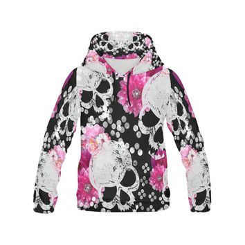 flowers and skulls Floral gothic Pattern All Over Print Hoodie for Women (USA Size) (Model H13)