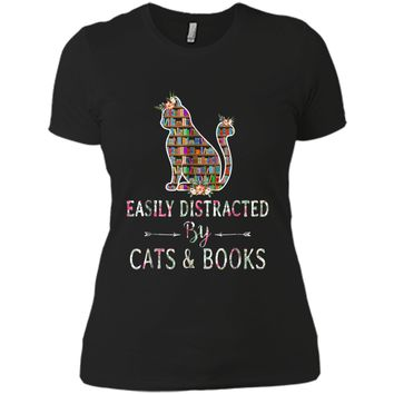 Cat Lover - Book Lover - Easily Distracted by Cat & Books Next Level Ladies Boyfriend Tee