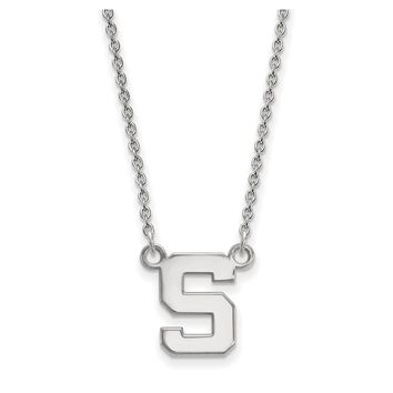 NCAA 14k White Gold Michigan State Small 'S' Pendant Necklace