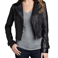 Women's Quilted-Panel Convertible Leather Jacket - Cusp by Neiman Marcus - Black