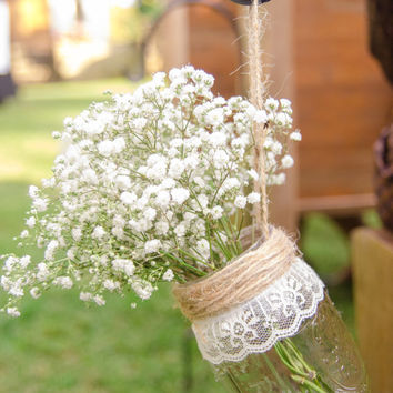 Mason Jar Hanging Vases, Set of 12, Wedding Aisle Decor, Rustic Wedding Mason Jar