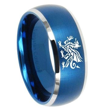 10mm Dragon Dome Brushed Blue 2 Tone Tungsten Carbide Men's Bands Ring