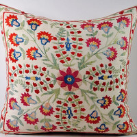 Handmade Suzani Pillow Cover nsp6-16, Suzani Pillow, Uzbek Suzani, Suzani Throw, Boho Pillow, Suzani, Decorative pillows, Accent pillows