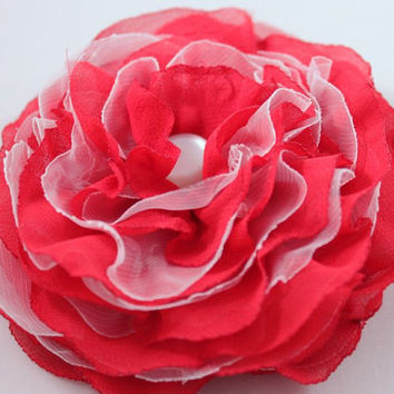 Red white brooch flower, soft veil, red tango accesory, spanish style brooch - OOAK - FREE Shipping - ready to ship