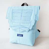 Backpack light blue hipster backpack rucksack cycling bag everyday small mini backpack Zurichtoren geometric simple minimalist baby blue bag
