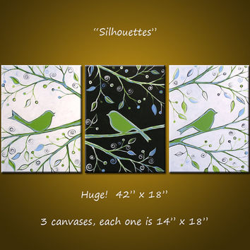 """Original Abstract Painting Birds Trees ... green black white ... 18"""" x 42"""" ... Ready to Hang, """"Silhouettes"""""""