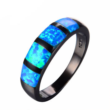Blue Opal & Black Metal Plated Ring