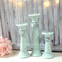 Rustic Mint Candleholders, Small Mint Taper Candlestick Holders, Shabby Chic Distressed Candleholders, Green Ornate Candlestick Holders