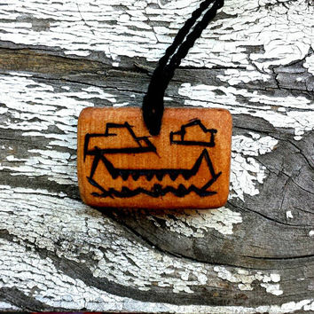 All Natural Canoe Nature Wooden Pendant Necklace