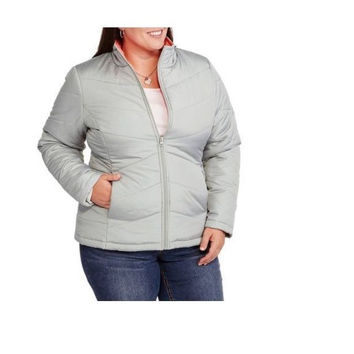 Faded Glory Women's Lightweight Bubble Jacket, 3X, Silver/Coral