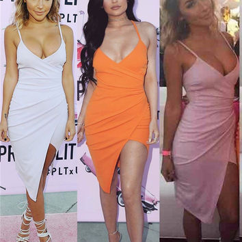 2016 Summer Ladies Sexy pink Spaghetti Strap Sleeveless V Neck Backless Pleated Mini Dress irregular Split bodycon dress Robes