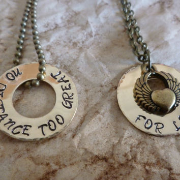 Long Distance Relationship Necklace Set - No Distance too great for love