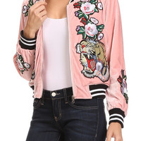 Power Patch Girl Embroidered Velvet Bomber Jacket