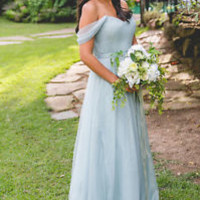 Off the Shoulder Pale Grey Formal Occasion Bridesmaid Dress Prom Dress