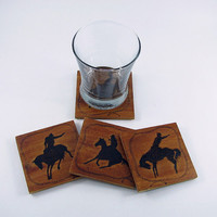 Wood Coasters - Wood Pyrography - Rodeo Cowboy Coasters