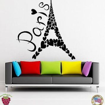 Wall Stickers Vinyl Decal Paris Eiffel Tower France Heart Romantic Unique Gift (z1814)
