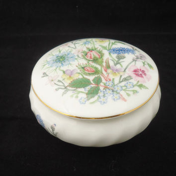 Vintage Aynsley Trinket Box, Aynsley Powder Jar, Aynsley Bone China Jewellery Box, Aynsley Wild Tudor Design Trinket Box