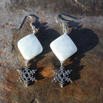 Amazonite Snowflake Earrings for Peace, Hope, and Positive Affirmations