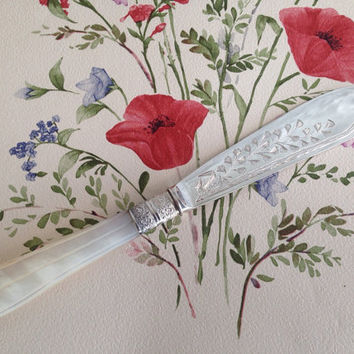 High Quality Antique Victorian Decorative Mother of Pearl Handled Silver Plated Fish / Cake Knife