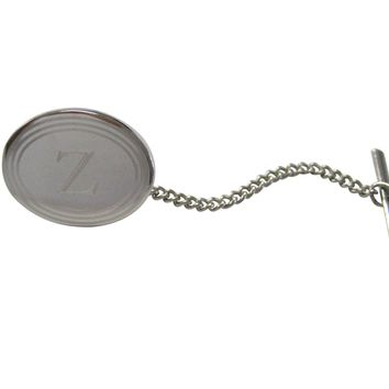Silver Toned Etched Oval Letter Z Monogram Tie Tack