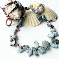 Larimar  Necklace, Dominican Larimar Chip Nugget Beaded Copper Necklace