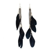 1 Pair Women Hook Tassel Long Dangle Earrings Multilayer Black Feather Elegant - Default